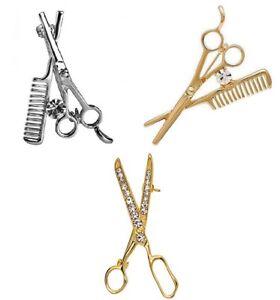 Spilla-per-Parrucchiere-Parrucchiera-Hair-Stylist-Argento-Gold-Tone-Forbici-Pettine