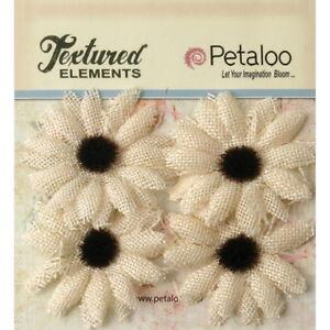 SUNFLOWER-Burlap-Textured-IVORY-x-4-flowers-Black-Centre-50mm-across-Petaloo