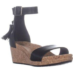 Details about UGG Australia Women's Zoe Sandals Ankle Espadrille Wedge Black Leather 10 NIB