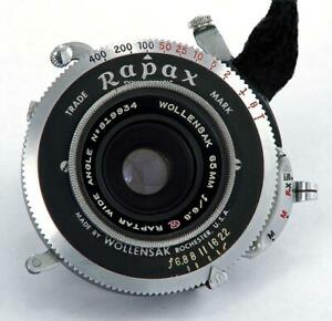 Wollensak-Raptar-65mm-f-6-8-Coated-Wide-Angle-Lens-Rapax-Shutter-6X9-EXCELLENT