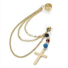 1x (SINGLE) GOLD TONE CROSS EARRING WITH CUFF CLIP TRIPLE CHAIN LINKS AND BEADS