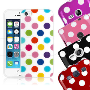 Vintage-Style-Polka-Dot-Spotty-Gel-Mobile-Phone-Case-Cover-With-Screen-Protector