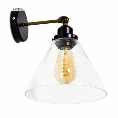 Flur Strahler Vintage Wand Lampen Schwarz Wohn Schlaf Zimmer Leuchten Rauchglas
