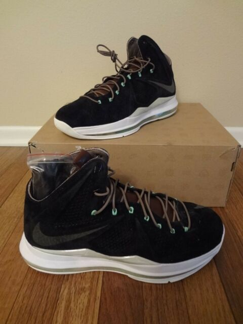 newest collection b47f0 9090f NIKE LEBRON 10 X EXT QS Size 12 Black Brown Mint Nubuck Suede 607078 001 NIB