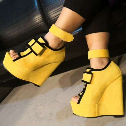 Fashion femmes compensées Super Talons Hauts Bout Ouvert Daim Sandales Fête Chaussures