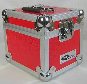 1-X-NEO-Aluminum-Red-Storage-for-100-Vinyl-Singles-Records-7-034-DJ-carry-Case