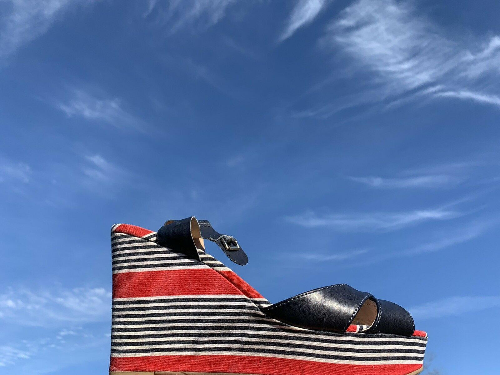 TOMMY HILFIGER Red White Blue Logo Striped Wedges… - image 5