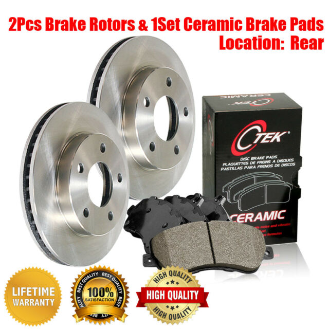 Centric Rear Brake Rotors + Ceramic Brake Pads 3PCS For