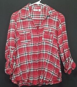 c49f5032 Cato Women's Red Plaid Button Front Y-Neck Blouse Size Large | eBay