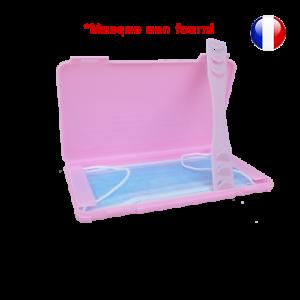 Boite-de-rangement-rose-et-attache-rose-pour-masque