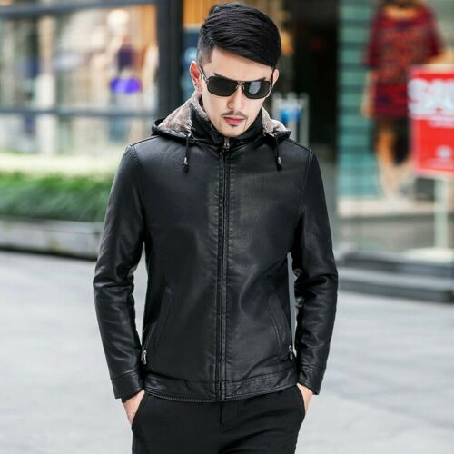Men/'s Winter Casual Thicken Fleeces Leather Jacket Warm Slim Fit Outwear Hooded