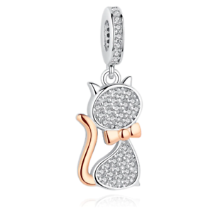 Lovely cat Shape Charme Pendentif Argent Sterling Authentique Bijoux Making Perles