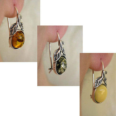 BUTTERSCOTCH, HONEY or GREEN AMBER & STERLING SILVER LEAF EURO HOOK EARRINGS