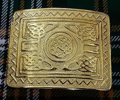 Scottish kilt belt buckle large shamrock gold plated highland buckles