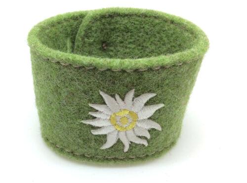 Trachten Schmuck Armband Filz  Edelweiß Stickerei Wiesn grün Le Novita