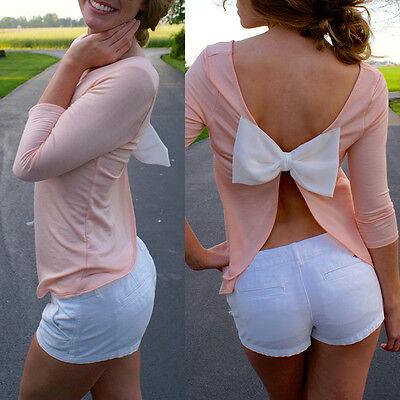 Summer Casual Womens Blouse Long Sleeve Chiffon Shirt Sexy Backless T-shirt Tops