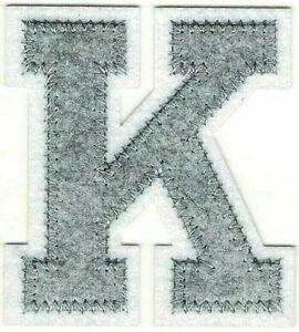 """2 1/2"""" Tall Grey Gray White Block Letterman's Letter K Felt Patch"""
