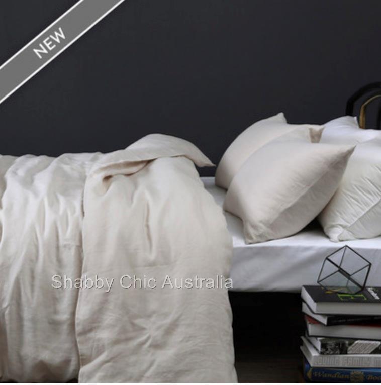 100% Pure Linen King Bed Doona Duvet Quilt Cover & Pillow Set Neutral Beige