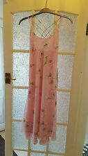 APART QUALITY Ladies Long Pink Floral Strap Dress Size 14-VGC