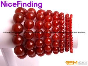 "Handmade Natural Red Agate Stone Beaded Healing Elastic Bracelet Jewelry Gift 7"""