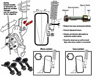 HONDA CIVIC INCLUDES Type R /& SI Camber bolt kit FRONT SET ±1.75° Adjustment