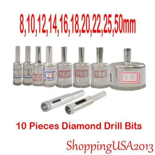 10Pcs Useful Marble Hole Opener Diamond Coated Hole Saws Drill Bit Tool Set  LD