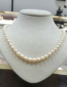 62c23d2498dad Details about MIKIMOTO SEA MAGIC CULTURED PEARL NECKLACE 6mm 18