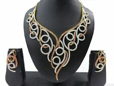 Indian Bollywood Style CZ AD Bridal Wedding Silver Fashion Jewelry Necklace Set0