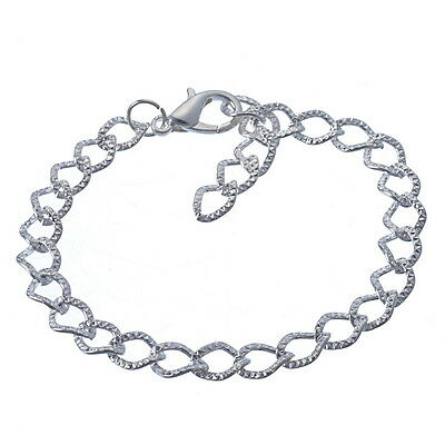 Wholesale Lots Silver Plated Lobster Clasp Link Chain Bracelet 20cm