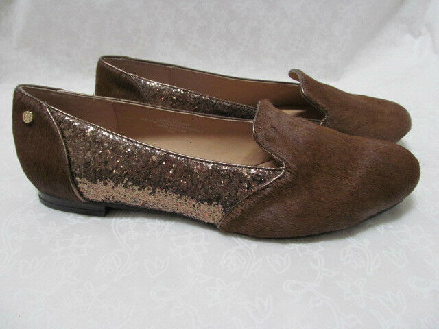 59 IMAN BROWN LEATHER HAIRCALF & BROWN GLITTER Schuhe SIZE 8 1/2 M - NEU