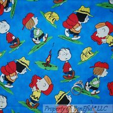 BonEful Fabric FQ Cotton Quilt Blue Peanuts Charlie Brown Lucy Camp Fire Bag Kid