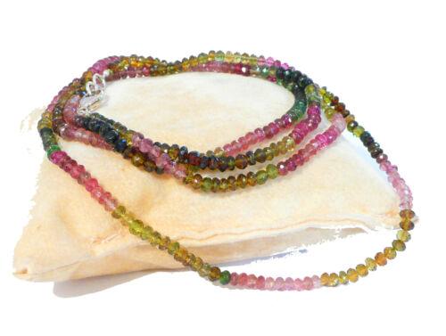 "tourmaline gemstone necklace strand 3mm colorful gems layer 18k white gold 24/"""