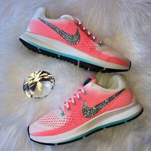 cff8bcf2aaa8e Details about Bling Nike Air Zoom Pegasus 34 Women/Girls Shoes w/ Swarovski  Crystal Pink White