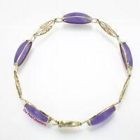 "14k Yellow Gold Four Partitions Of ""longevity"" Symbol Lavender Jade Bracelet"