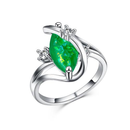 Élégante Anneaux De Mariage Pour Femmes Argent 925 Marquise Cut Vert Opale Taille 6-10