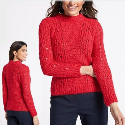 PER UNA Chunky TEXTURED Round Neck JUMPER ~ Various Sizes ~ RED rrp £35