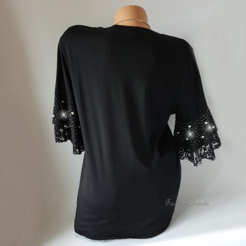 Glitzer Strass Spitze Shirt T-Shirt Top Kunstperlen 3//4 Arm*Schwarz* S M-36 38