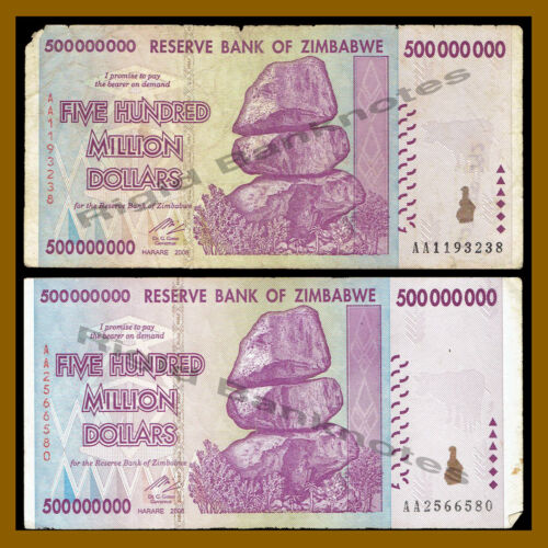 100 Trillion Ser 2008 AA//AB Cir Zimbabwe 500 Million Dollars x 100 Pcs Bundle