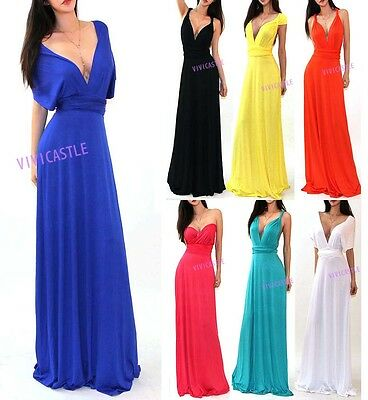 VIVICASTLE USA MULTI WAY WRAP CONVERTIBLE INFINITY COCKTAIL MAXI DRESS S M L