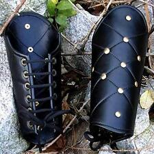 GREEK TROJAN ROMAN GLADIATOR Black Leather VAMBRACE ARMGUARD ARMOR New
