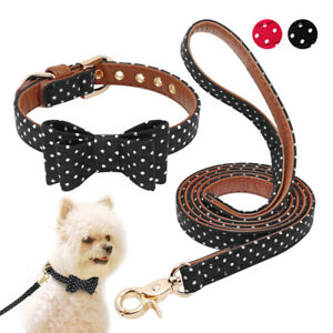 Cute-Polka-Dot-Dog-Collar-and-Leash-Set-Adjustable-Pet-Bowtie-Necklace-Black-Red