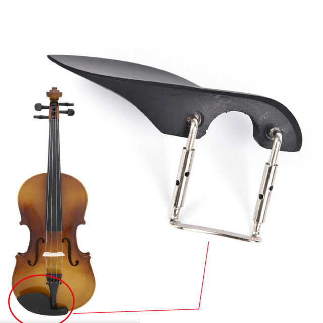 Professional 1/4 Violin Chin Rest with Silver Chinrest Screw Black Wood、 DD