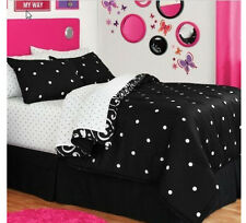 Black & White Polka Dots & Damask Queen Comforter Set (8 Piece Bed In A Bag)