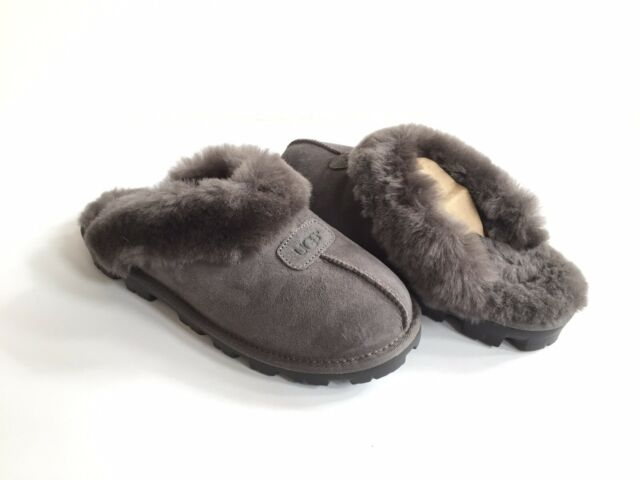 d9af2550dbf UGG Australia Coquette Grey Suede Fur Slippers Womens Size 8