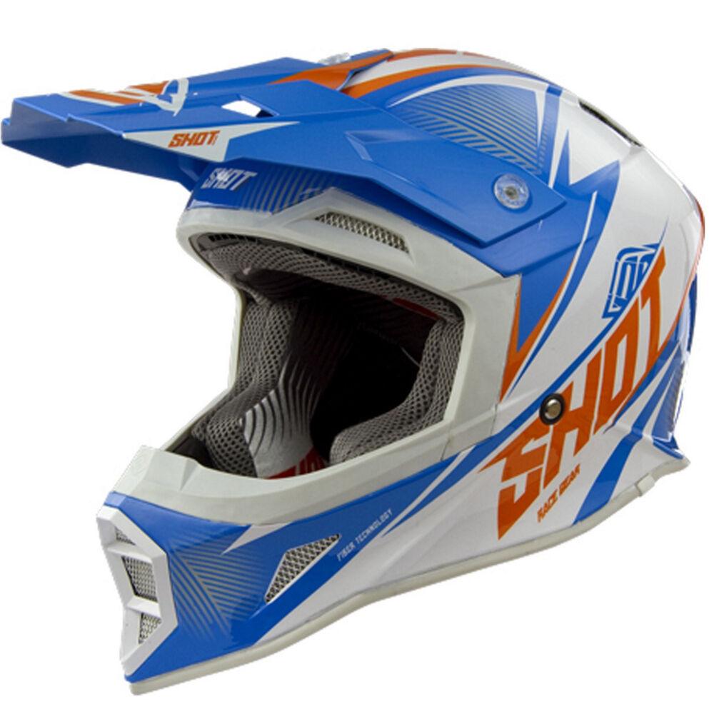 Shot per Colpire Tripla Comp Mx Motocross Casco Alcolici Blu Arancione Adulti
