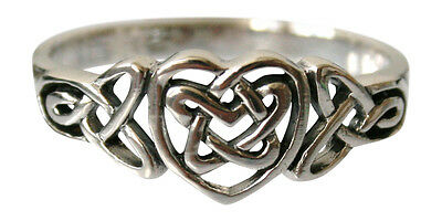 Ladies Plain 925 Sterling Silver Celtic Heart Ring Sizes N - X