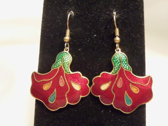 BEAUTIFUL Vintage RUBY RED/GREEN Cloisonne Style BLOOMING FLOWER Earrings 13EE50
