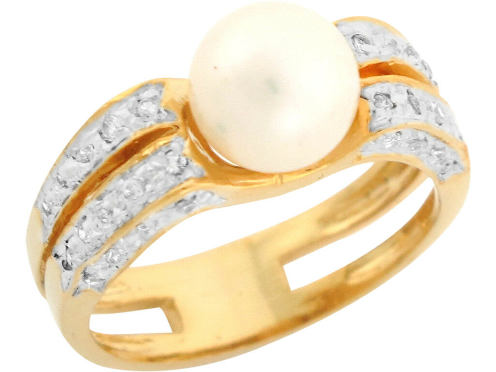 10k or 14k Two Tone gold Freshwater Cultured Pearl White CZ Classy Ladies Ring