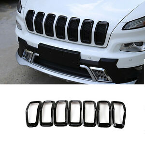 Front Grille Insert Grill Trim Frame Accessories Black For Jeep