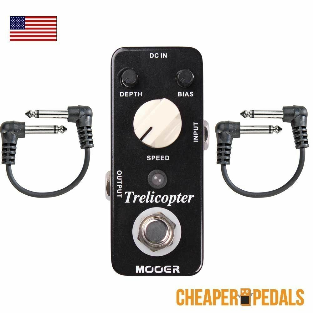 NEW MOOER TRELICOPTER Optical Tremolo Micro Pedal + 2 Free Cables FREE Shipping